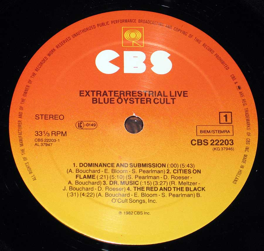 """Extraterrestrial Live"" Record Label Details: Orange to Yellow Colour CBS 22203"