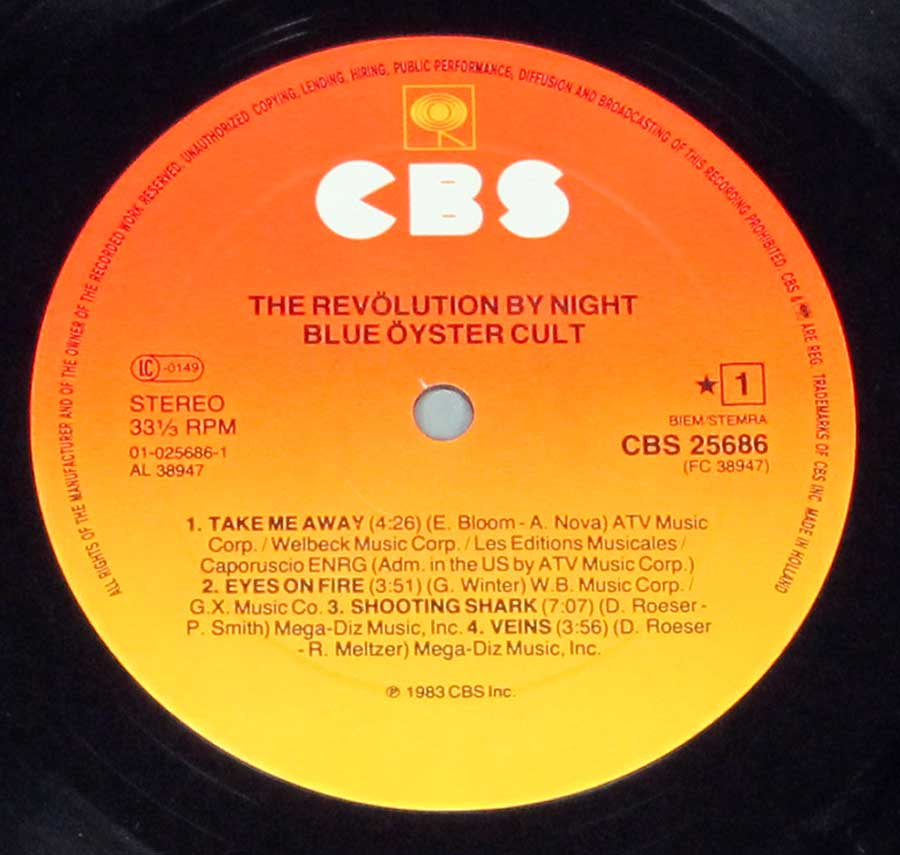 """The Revolution By Night "" Record Label Details: Orange to Yellow CBS 25686 © Copyright ℗ Sound Copyright"