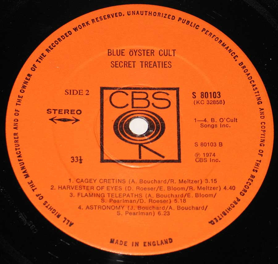 """Secret Treaties"" Record Label Details: CBS Walking Eye Logo around Center Hole, 80103, Made in Englad ℗ 1974 CBS Inc Sound Copyright"