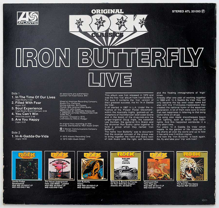 Photo Of The Back Cover IRON BUTTERFLY - Live (Rock Classics)