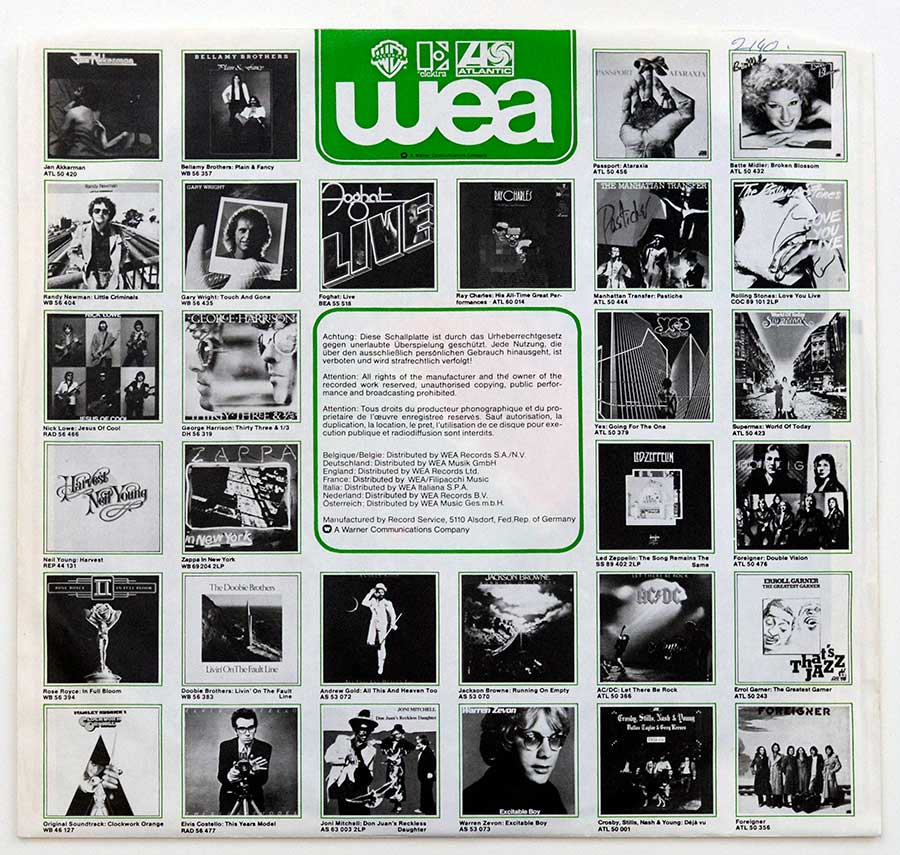 Photo of the WEA Company inner sleeve IRON BUTTERFLY - Live (Rock Classics)