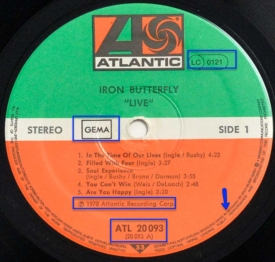 "Close up of the ""Atlantic"" Green and Orange record label"