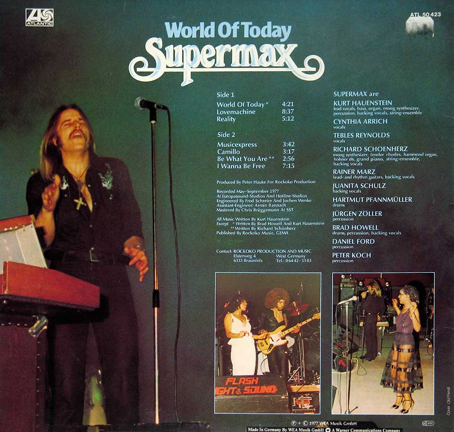 "Photo of album back cover SUPERMAX - World of Today 12"" Vinyl LP Album"