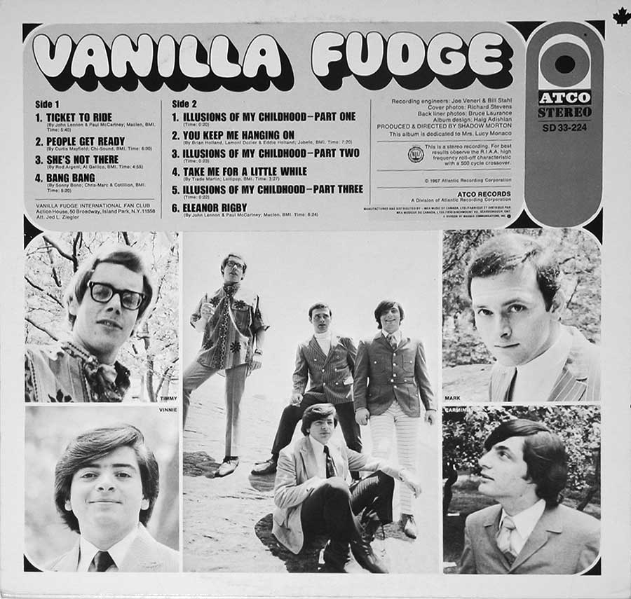 "VANILLA FUDGE - S/T Self-Titled 12"" VINYL LP ALBUM back cover"