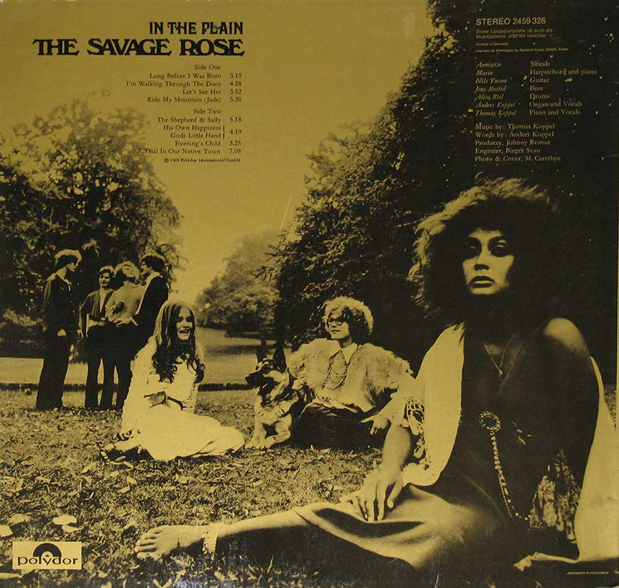 "Photo of album back cover SAVAGE ROSE - In The Plain 12"" Vinyl LP Album"
