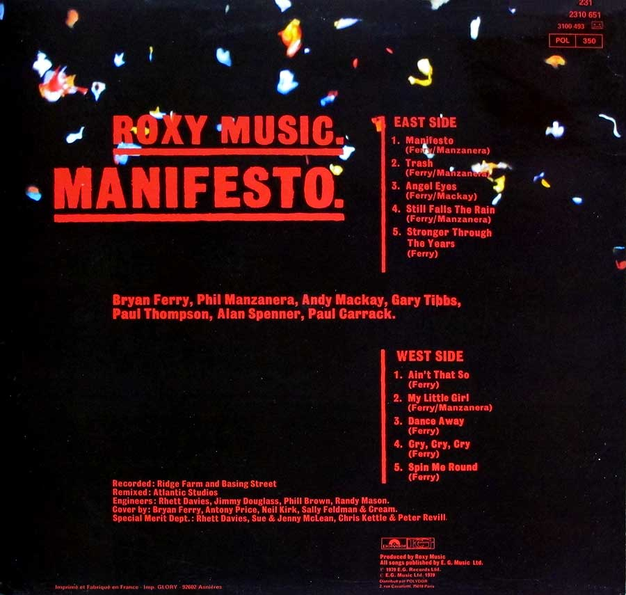 "Roxy Music - MANIFESTO - pop-rock FRANCE release 12"" LP VINYL ALBUM album back cover"