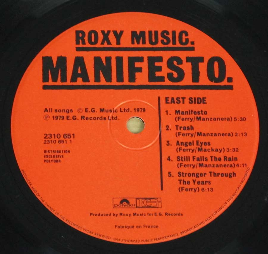 "Roxy Music - MANIFESTO - pop-rock FRANCE release 12"" LP VINYL ALBUM enlarged record label"