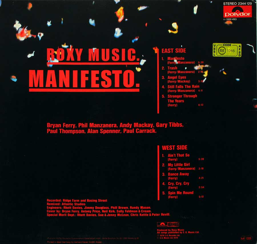 "ROXY MUSIC - Manifesto - German release 12"" LP Vinyl Album album back cover"