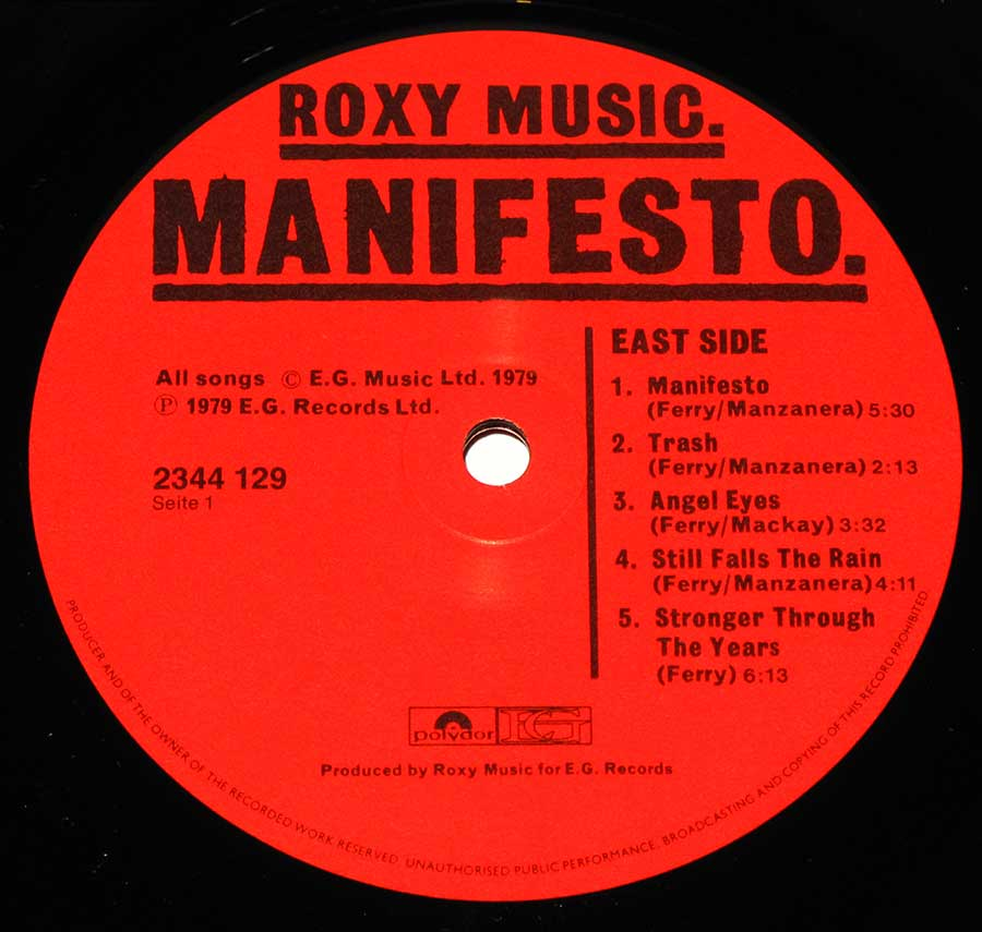 "ROXY MUSIC - Manifesto - German release 12"" LP Vinyl Album enlarged record label"