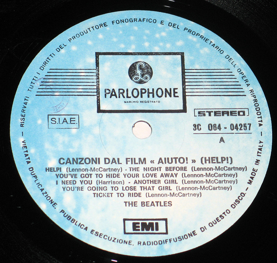 "Close up of record's label BEATLES - Help! Canzoni Dal Film Aiuto! 12"" VINYL LP ALBUM Side One"