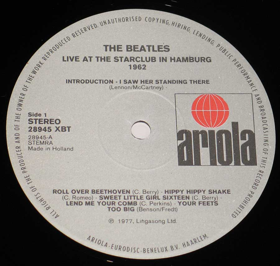 "Close up of record's label BEATLES - Live At The Star-Club in Hamburg 1962 12"" VInyl LP Album Side One"