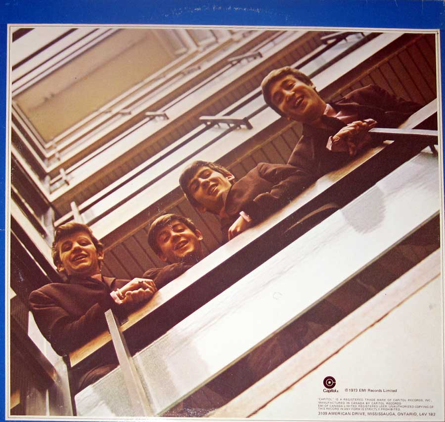"Photo of album back cover BEATLES 1967-1970 Blue Cover Canada 12"" VINYL LP ALBUM"
