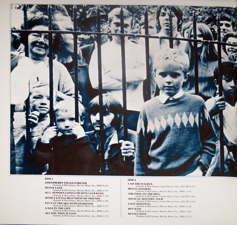 "Photo of the left page inside cover BEATLES 1967-1970 Blue Cover Canada 12"" VINYL LP ALBUM"
