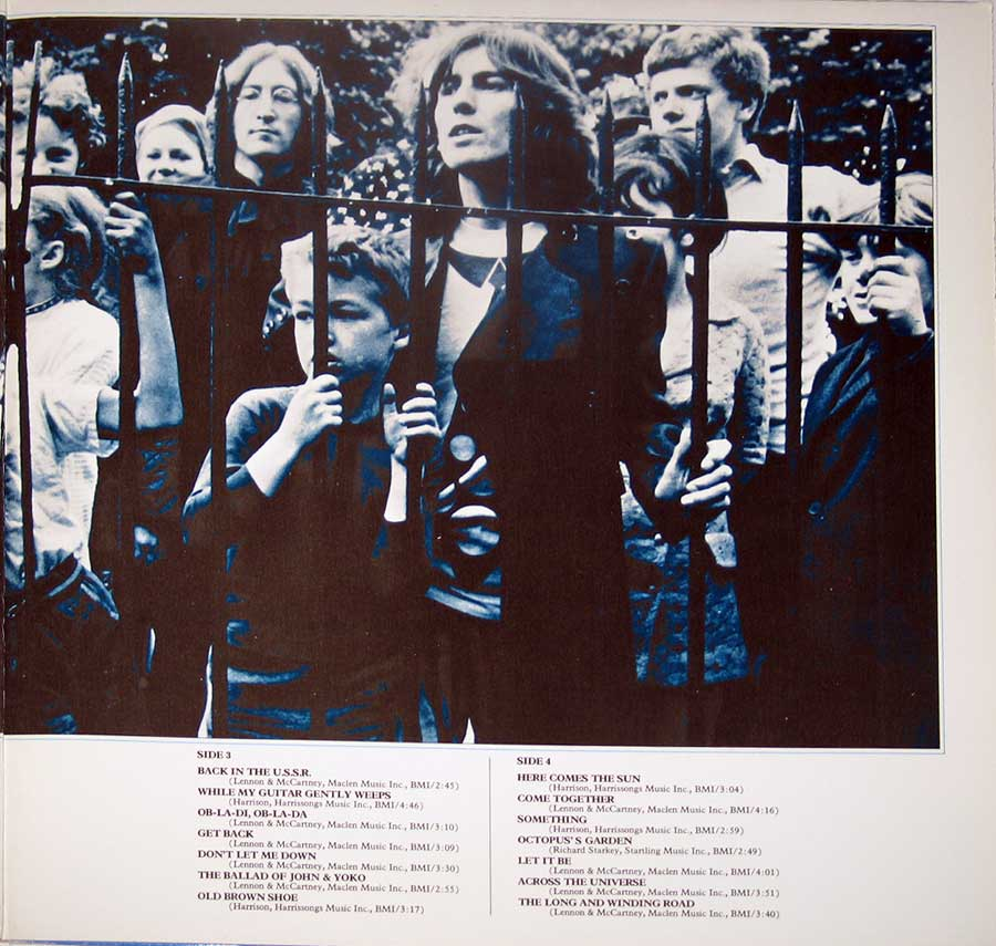 "Photo of the right page inside cover BEATLES 1967-1970 Blue Cover Canada 12"" VINYL LP ALBUM"