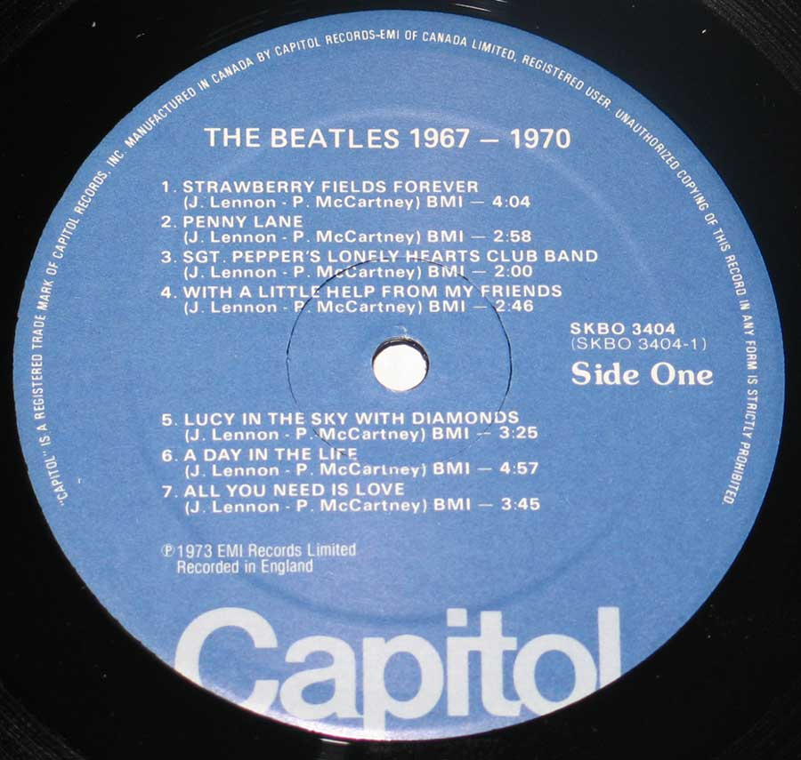 "Close up of record's label BEATLES 1967-1970 Blue Cover Canada 12"" VINYL LP ALBUM Side One"