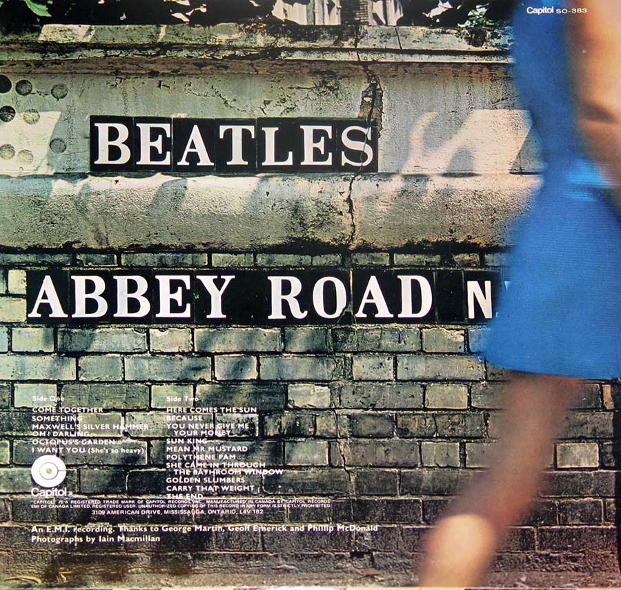 "Album Back Cover  Photo of ""BEATLES Abbey Road Capitol Records"""
