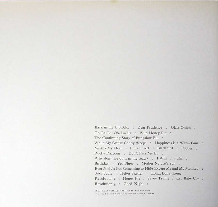 Photo of the left page inside cover The Beatles - White Album