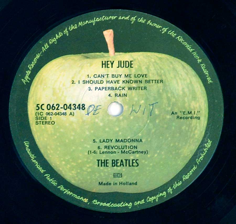 "Close up of record's label THE BEATLES - Hey Jude 12"" LP ALBUM VINYL Side One"