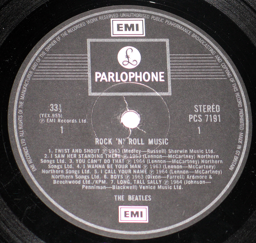 "Close up of record's label BEATLES - Rock and Roll Music UK Release 12"" VINYL LP ALBUM Side One"