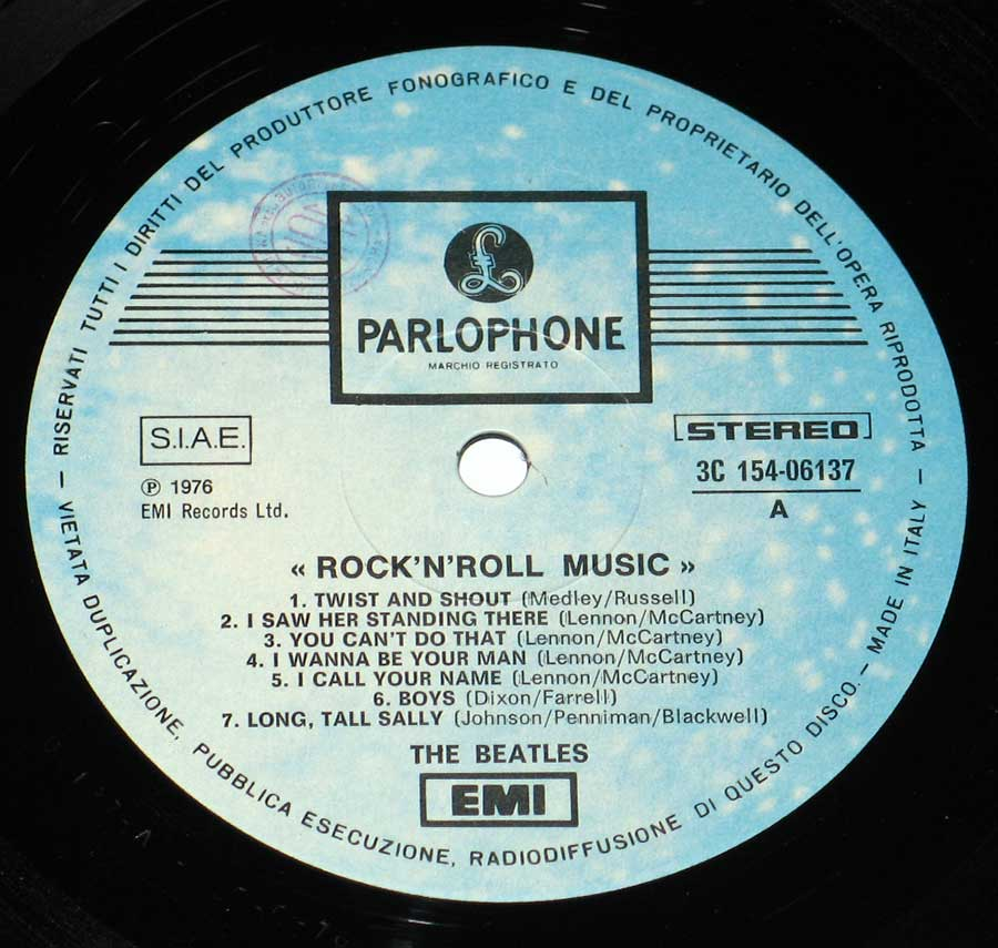 Close up of record's label BEATLES - Rock 'N' Roll Music Italy 2LP Vinyl Album  Side One