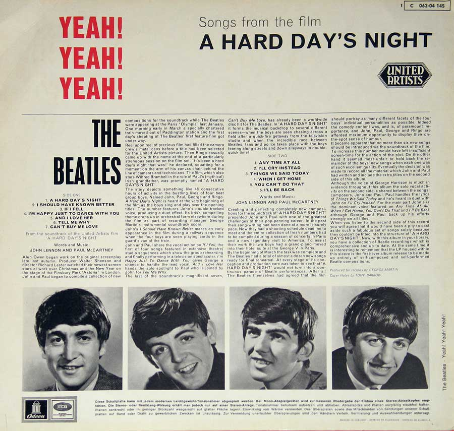 Photo of album back cover BEATLES - Yeah Yeah Yeah