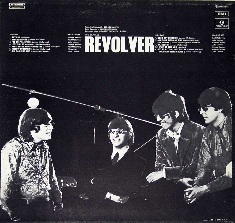 "Photo of album back cover BEATLES - Revolver Italian Release 12"" VINYL LP ALBUM"