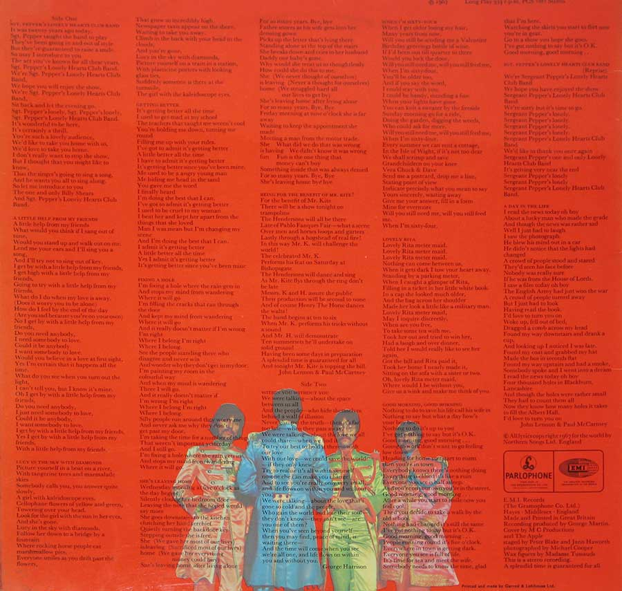 Photo of album back cover BEATLES Sgt Pepper's Lonely Hearts Club Band ( France )