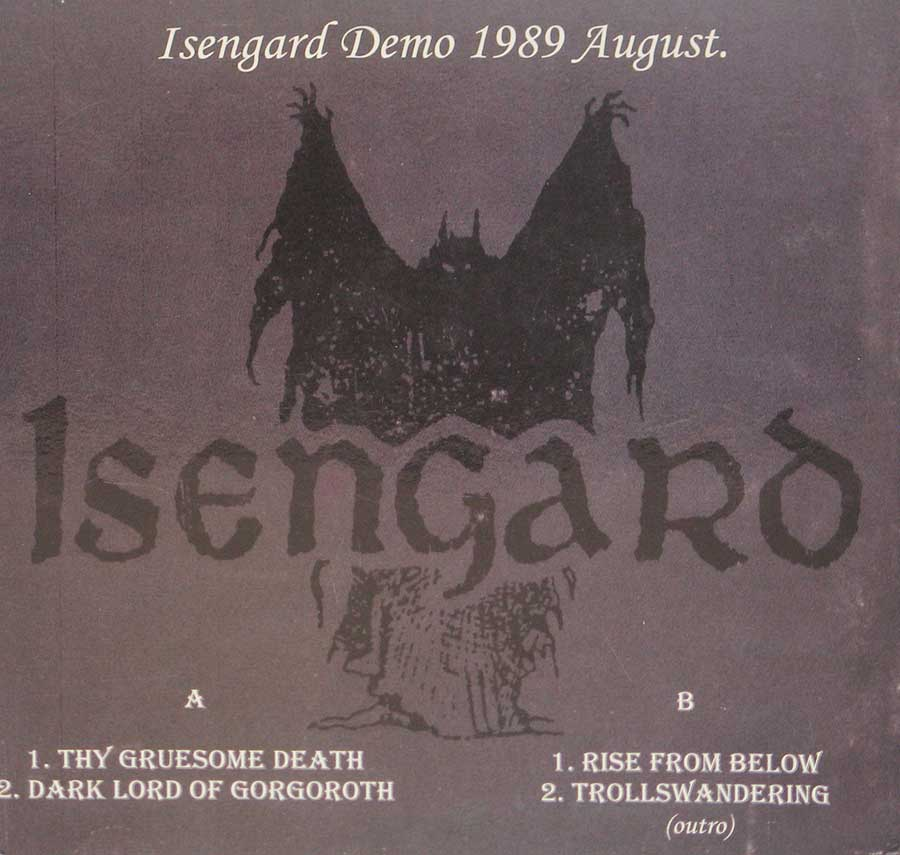 Photo of album back cover ISENGARD - Dark Lord of Gorgoroth Demo August 1989