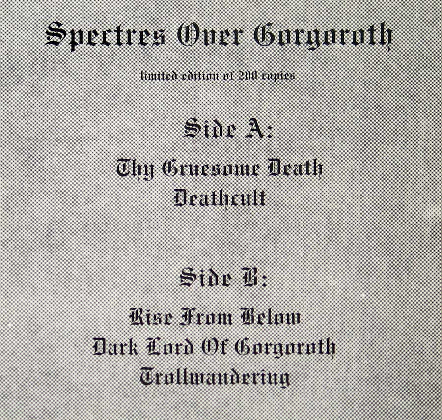 Photo of album back cover ISENGARD - Spectres over Gorgoroth limited edition of 200 copies