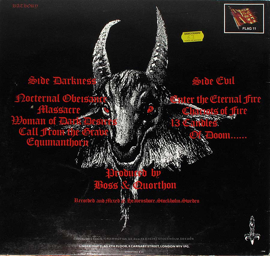 "Back Cover  Photo of ""BATHORY - Under the Sign of the Black Mark"" Album"