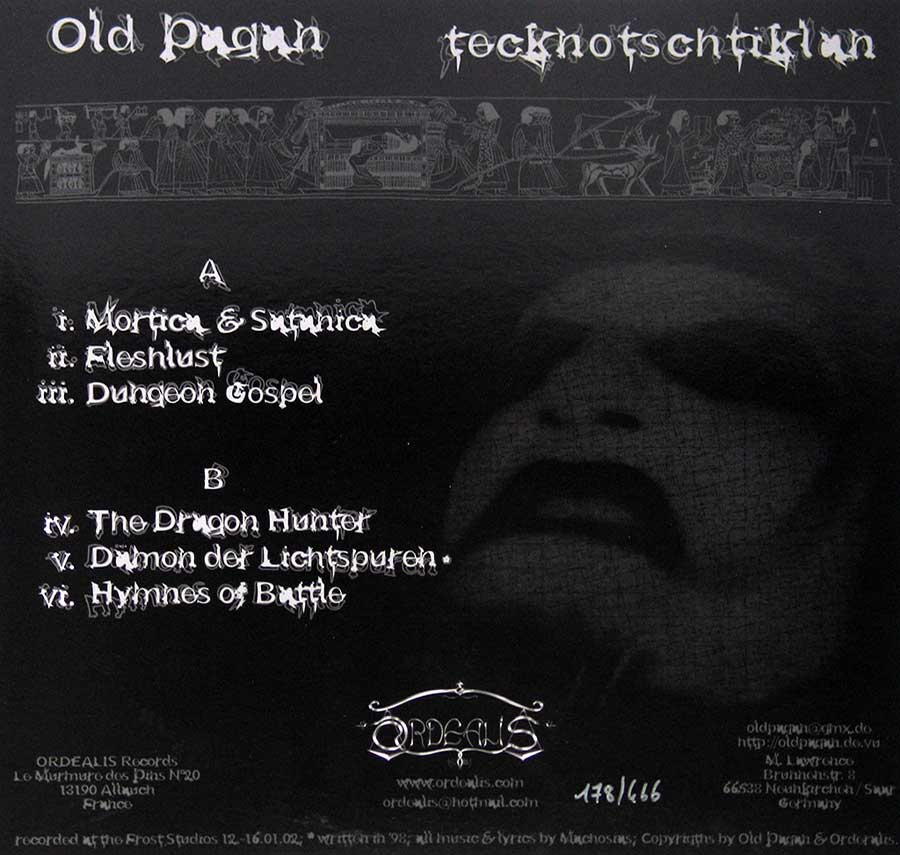 "OLD PAGAN - Tecknotschtiklan Limited Edition 12"" VINYL LP ALBUM  back cover"