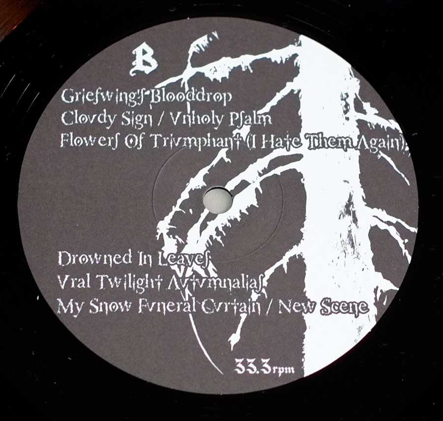 Close up of record's label THY REPENTANCE - Ural Twilight Autumnalias Side One