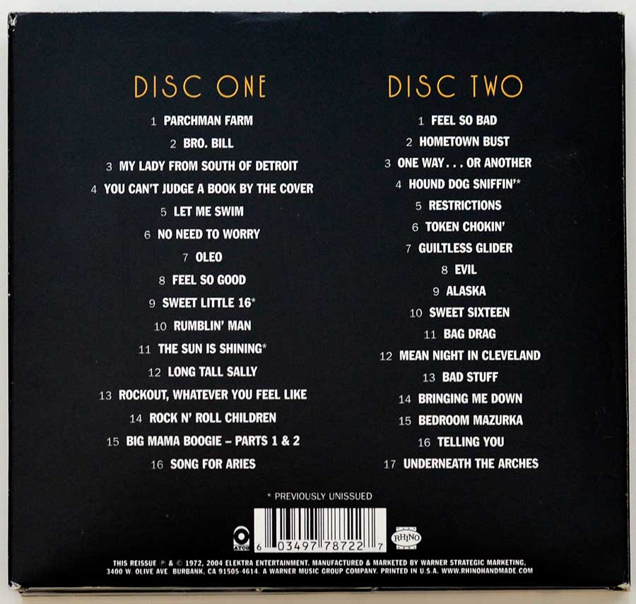 Photo of CD album back   CACTUS Barely Contained – The Studio Sessions 2CD Limited Edition 2CD