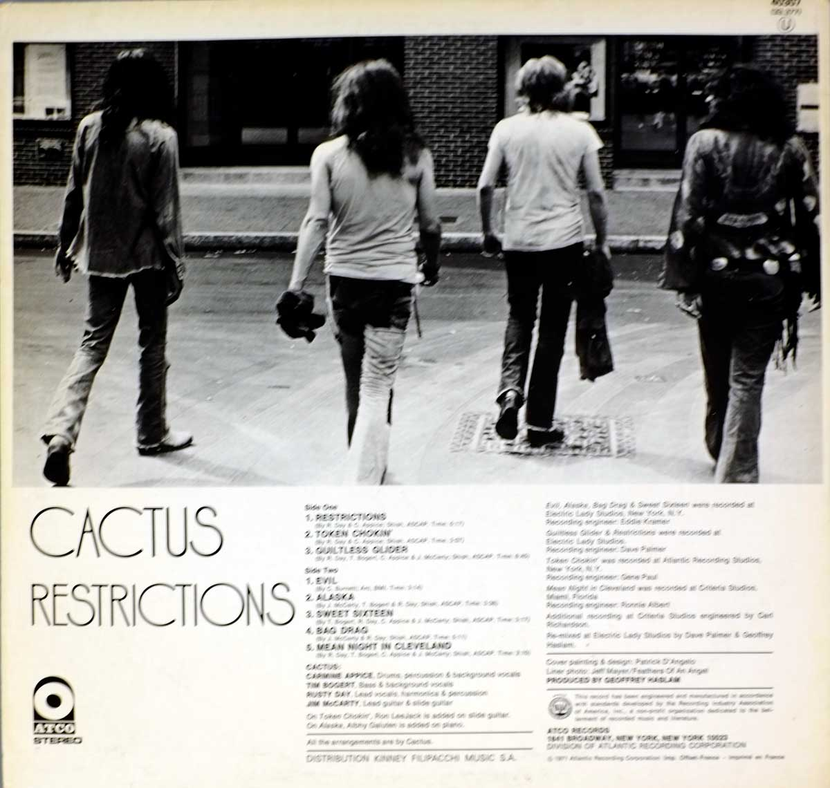 "View from behind on the Cactus band-member on the Album Back Cover  Photo of ""Restrictions"""