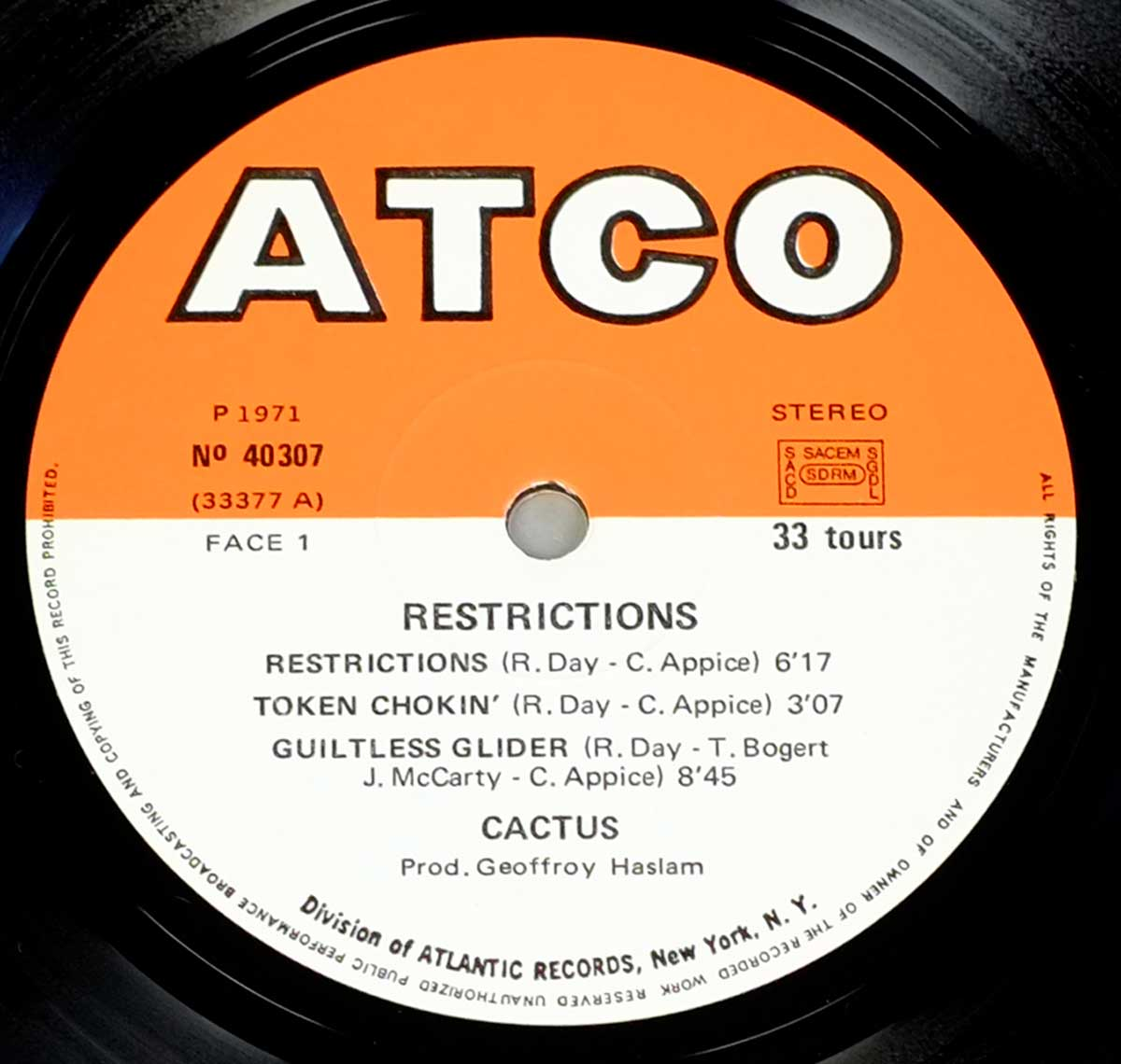 "Photo of ""CACTUS - Restrictions"" ATCO Orange and White Record Label with catalognr 40 307"