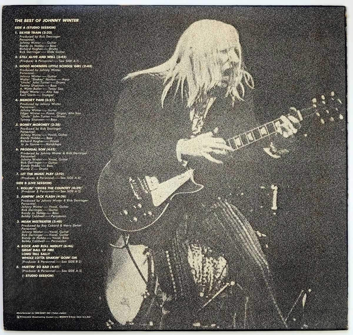 Johnny Winter playing a Gibson Les Paul Guitar on the Album Back Cover  Photo