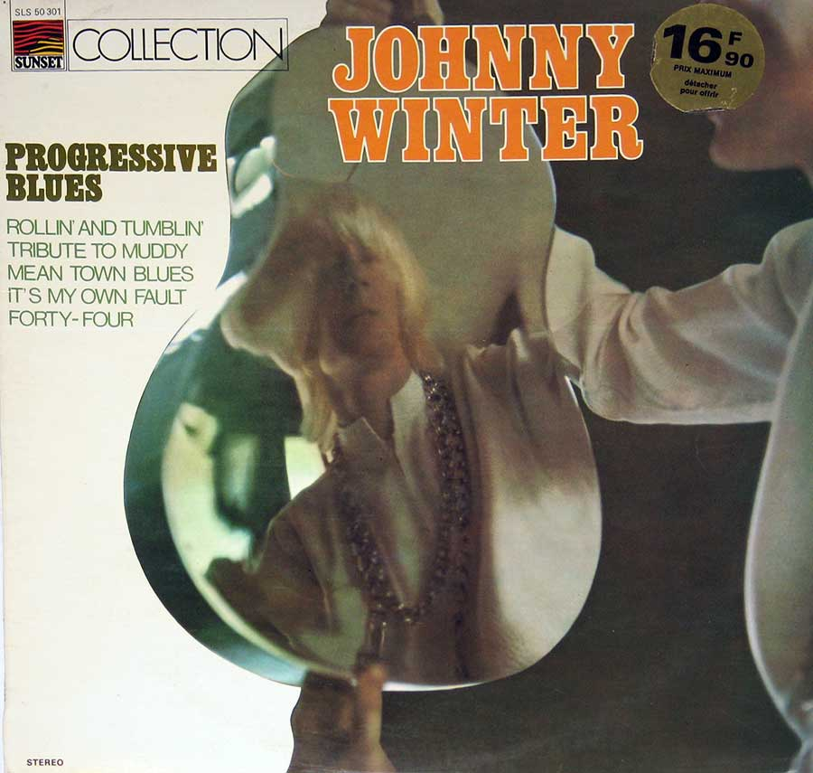 "JOHNNY WINTER - Progressive Blues France Sunset SLS 50301 12"" Vinyl LP Album front cover https://vinyl-records.nl"
