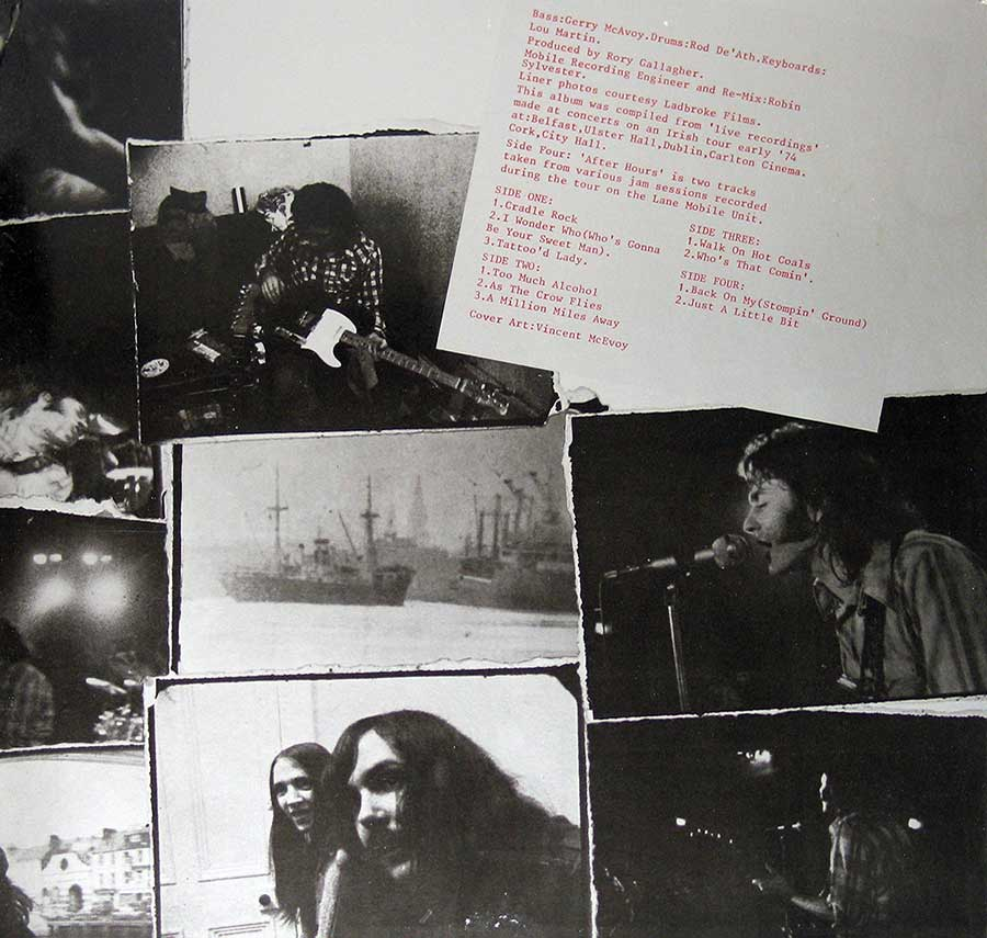 Photo of the right page inside cover RORY GALLAGHER - Irish Tour '74 2LP