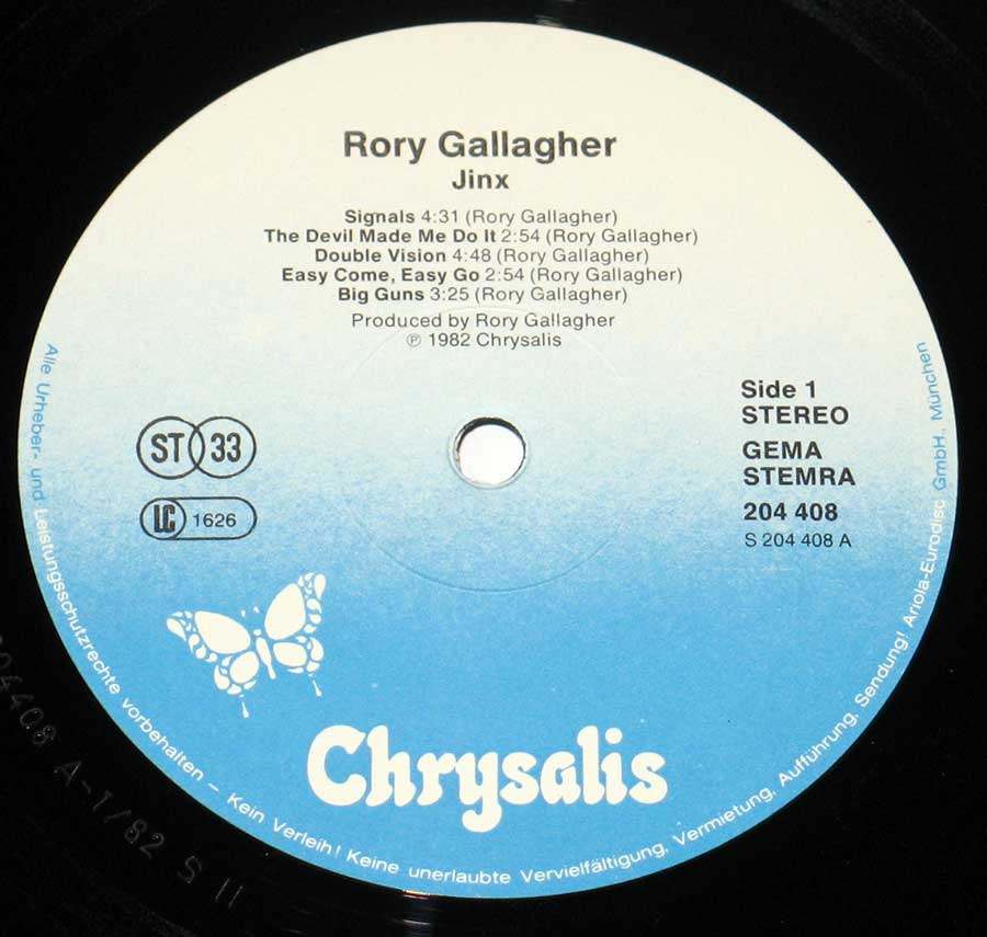 "RORY GALLAGHER - Jinx 12"" VINYL LP ALBUM enlarged record label"