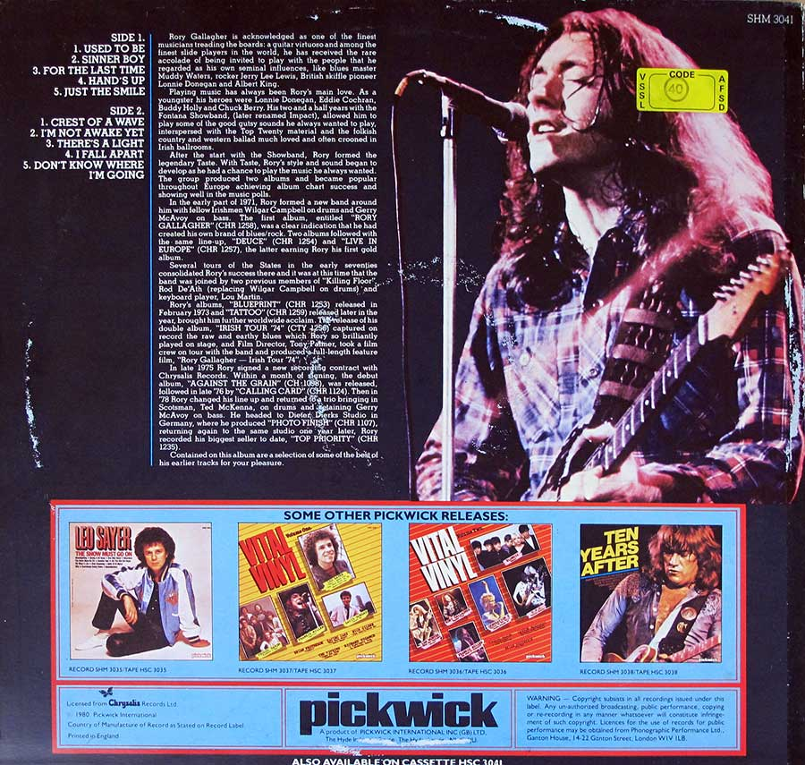 "RORY GALLAGHER S/T Self-Titled PickwicK UK 12"" LP VINYL ALBUM album back cover"