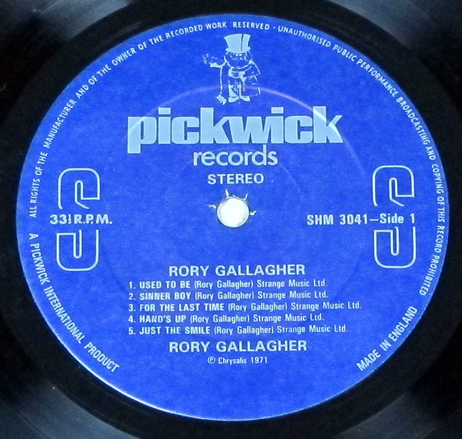 "RORY GALLAGHER S/T Self-Titled PickwicK UK 12"" LP VINYL ALBUM enlarged record label"