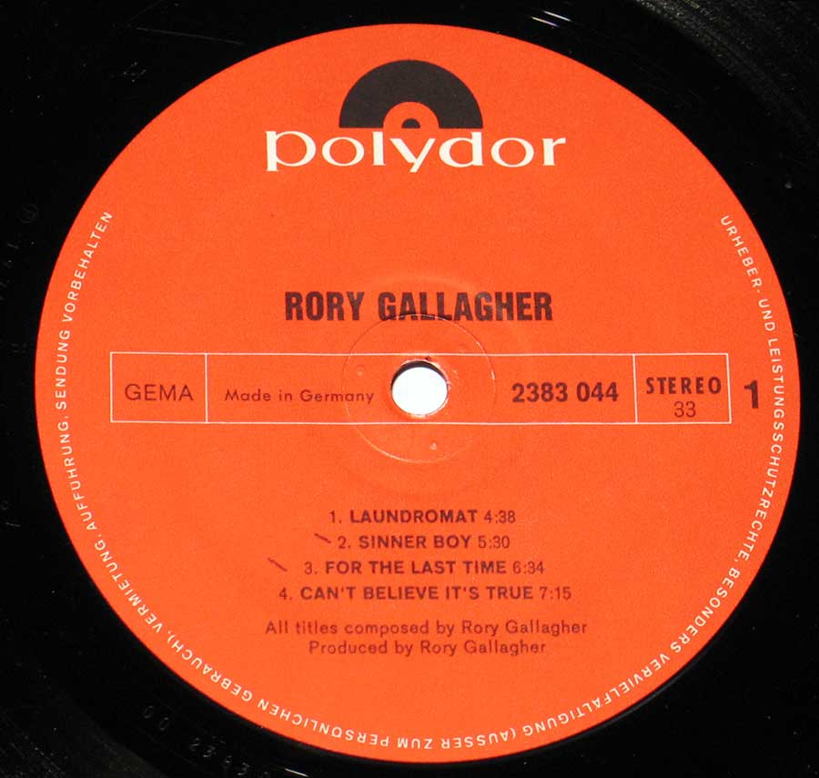 "RORY GALLAGHER - Self-titled 12"" VINYL LP ALBUM enlarged record label"