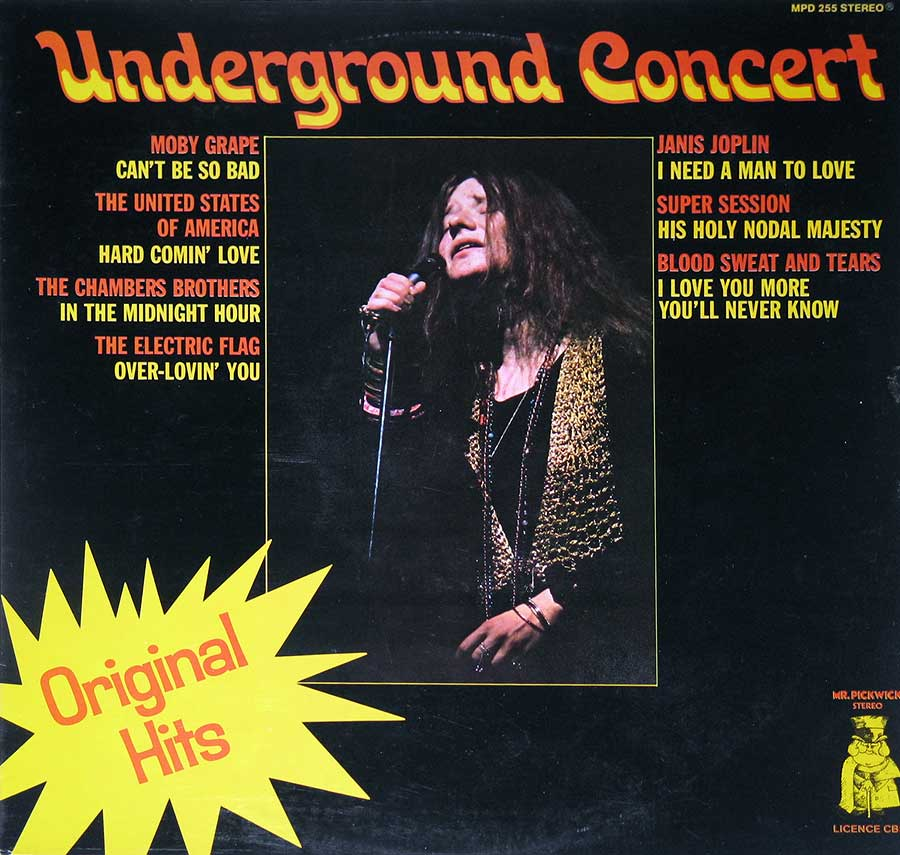 "Front Cover Photo Of Various Artists - Underground Concert Janis Joplin, Moby Grape, Electric Flag 12"" Vinyl LP Album"