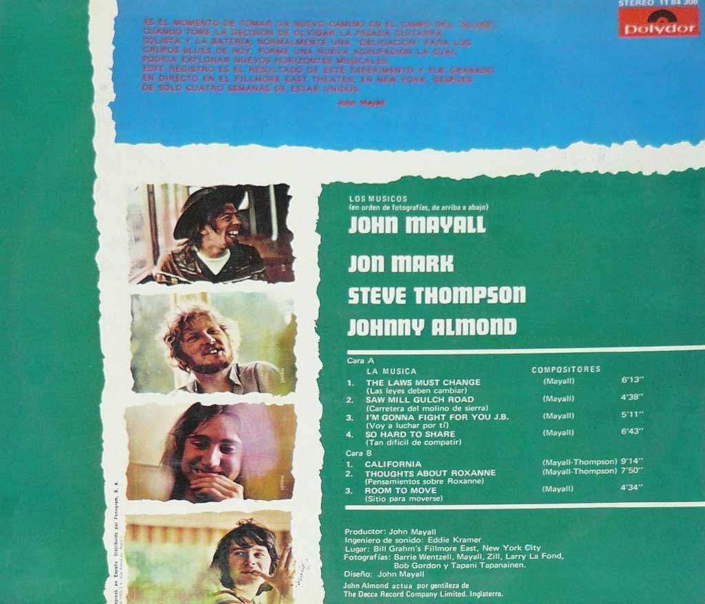 Photo of album back cover John Mayall - Turning Point ( Spain )