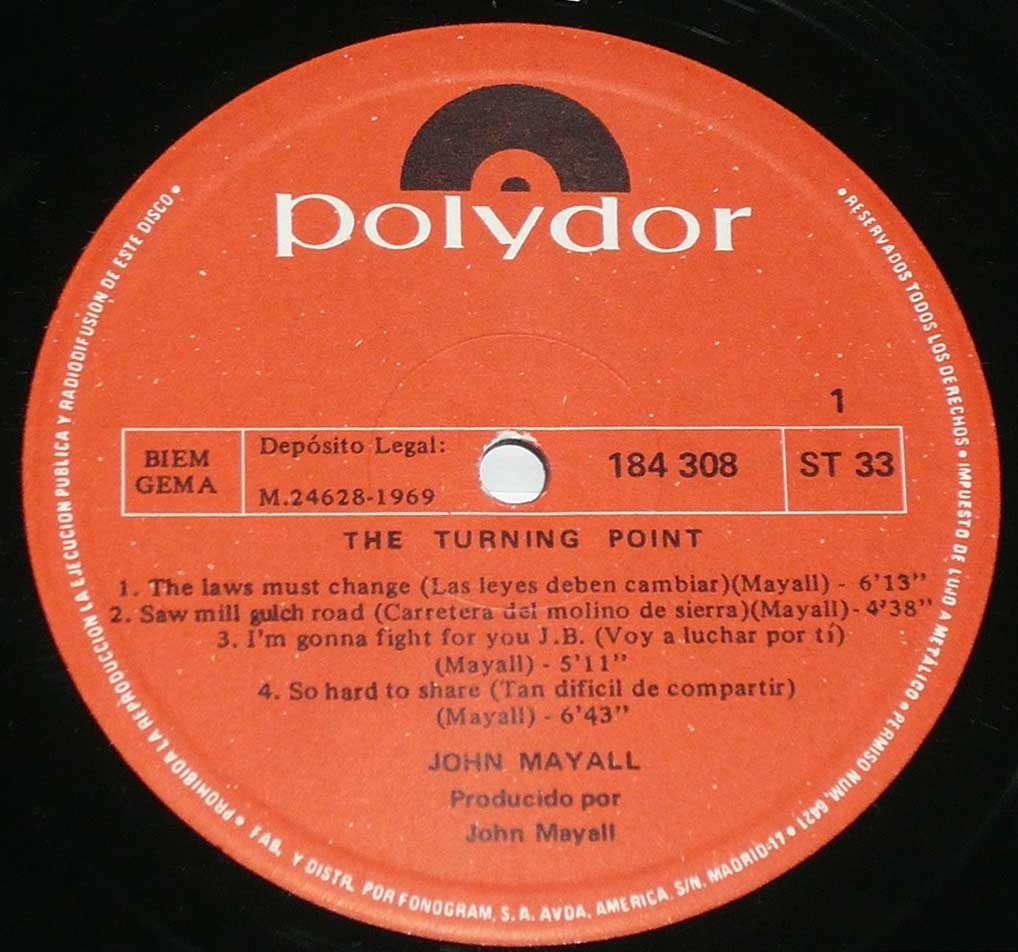 Photo of record label of John Mayall - Turning Point ( Spain )
