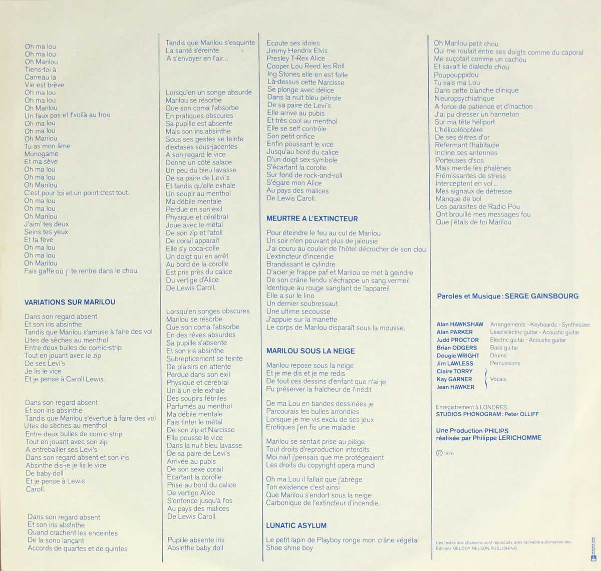 "Inner Sleeve   of ""SERGE GAINSBOURG - L'Homme a Tete de Chou"" Album"