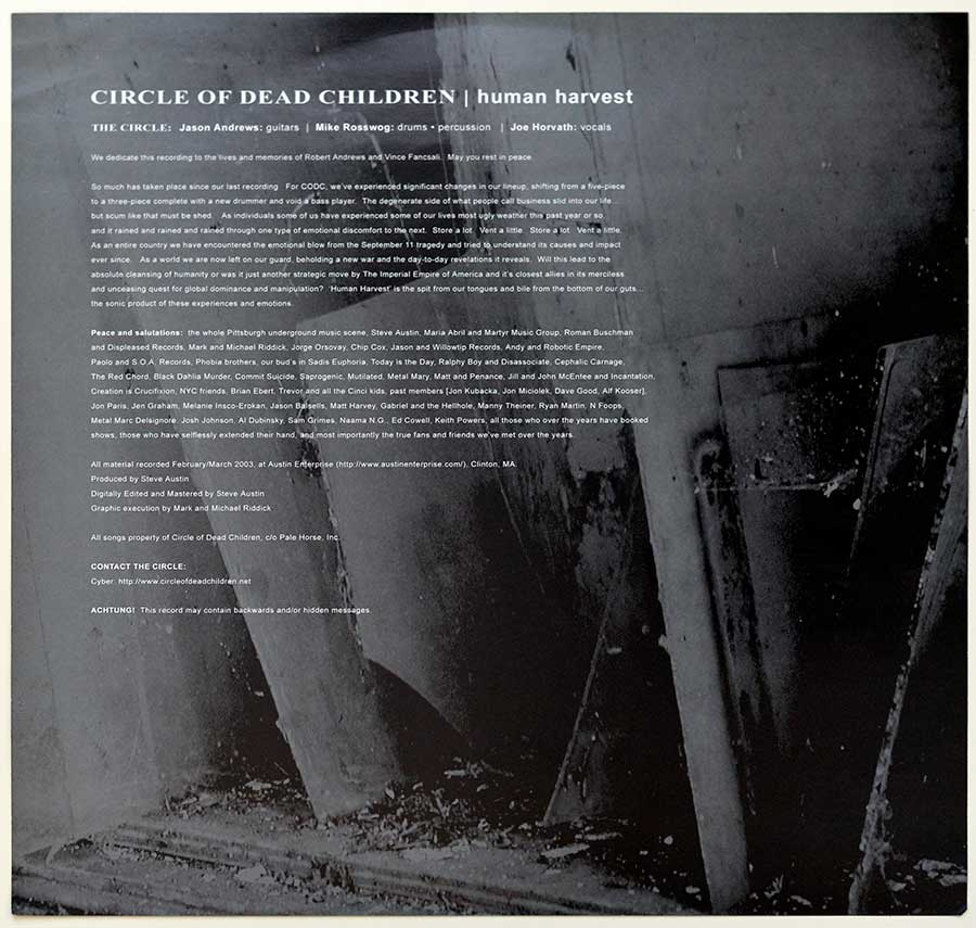 Photo One Of The Original Custom Inner Sleeve CIRCLE OF THE DEAD CHILDREN - Human Harvest