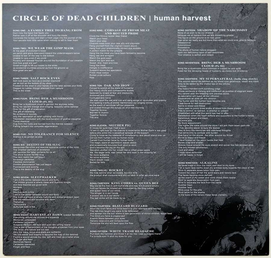 Photo Two of the original custom inner sleeve  CIRCLE OF THE DEAD CHILDREN - Human Harvest