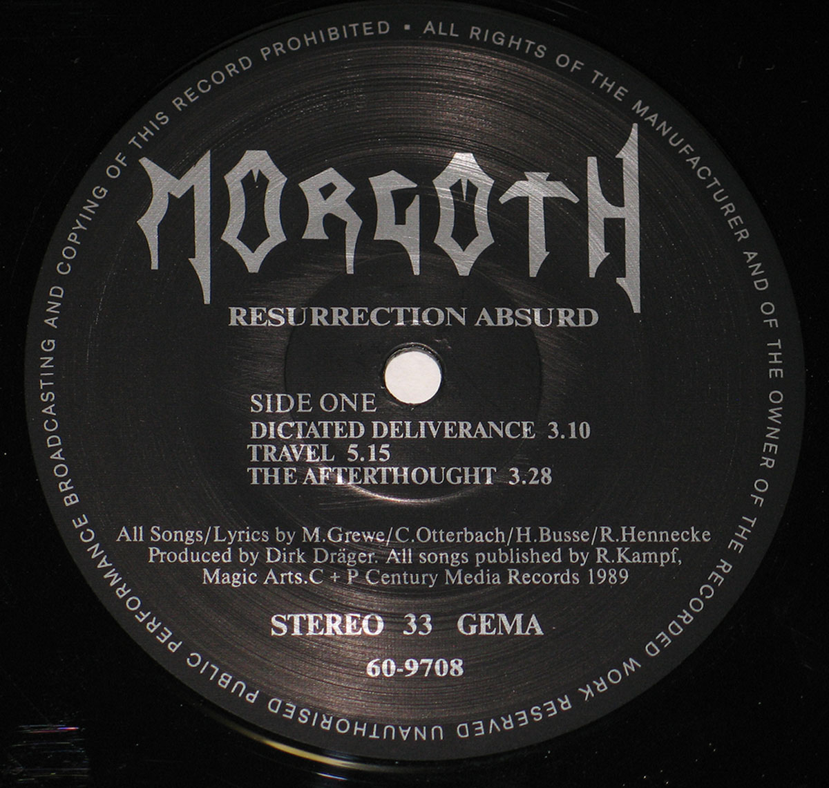 Close up photo of the records label MORGOTH - Resurrection Absurd