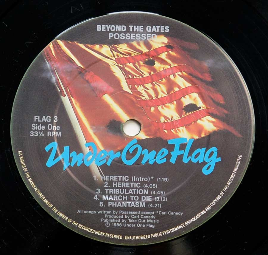 """Beyond the Gates"" Record Label Details: Under One Flag 3 ℗ 1986 Under One Flag Sound Copyright"